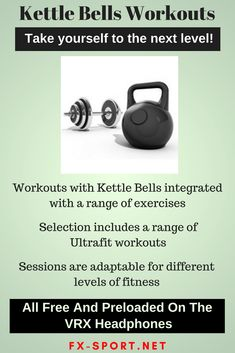 Great range of #KettleBells #workouts which are included with our #SportHeadphones - Extra #motivation and training structure to help keep you on the right track. #FitnessTech