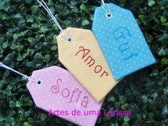 Artes de uma Larissa: Tags para lembrancinha Tags de tecido com bordado feito à mão, lembrancinha para qualquer ocasião.. maternidade, batizado, aniversário, casamento, chá de panela, open house..