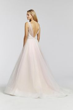 Harmony-1659 Hydrangea tulle ball gown, draped crossover sweetheart bodice with bateau illusion neckline, rhinestone encrusted belt at natural waist, low V-back and full tulle skirt.