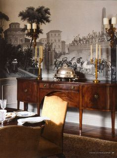 Lately I've been obsessing over panoramic scenic wallpapers, specifically Grisaille wallpaper. Grisaille is a term used for painting executed entirely in monoc Classic Interior, Luxury Interior, Scenic Wallpaper, Landscape Wallpaper, Traditional Dining Rooms, Grisaille, Interior Decorating, Interior Design, Beautiful Interiors