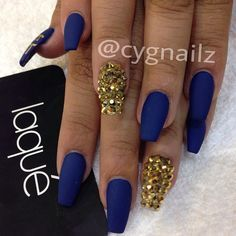 color - Coffin nails are fun to experiment with. Take a look at these 69 impressive designs you will definitely want to play around with. Gold Acrylic Nails, Gold Nails, Gold Glitter, Blue Nail Designs, Acrylic Nail Designs, Square Stiletto Nails, Trendy Nails, Cute Nails, Royal Blue Nails