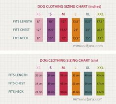 Dog Clothing Sizing Chart -- Make sure you check the size chart and compare it with your dog's measurements so that you can choose and download the correct pattern size!!