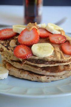 Vegan Strawberry, Banana and Peanut Butter Pancakes #veganpancakes #veganrecipes
