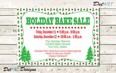 Holiday Business Flyer, Home Party Invitation, Christmas Bake Sale, Boutique…