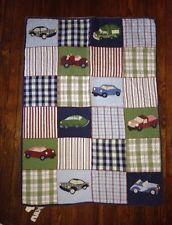 Pottery Barn Kids Cars And Trucks Crib Toddler Quilt Blue Green Plaid Boys