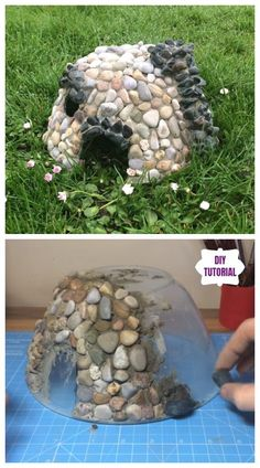 Diy miniature stone fairy house tutorial inspiring gnome garden and fairy garden design ideas to copy right now Fairy Garden Plants, Fairy Garden Houses, Gnome Garden, House Gardens, Diy Fairy House, Fairy Gardening, Fairies Garden, Fairy Houses Kids, Garden Cottage