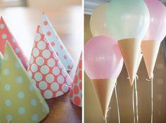 Balloon Ice Cream Cones - great idea for kids' ice cream party