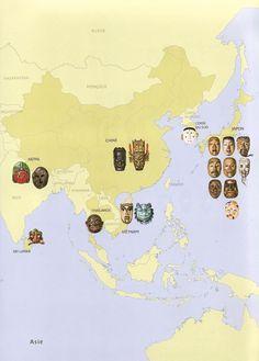 Projection de cartes montrant les régions du monde où l'on fabrique et utilise des masques.