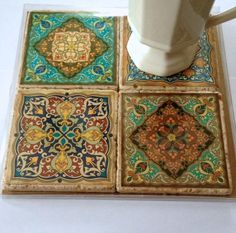 Travertine Tile Coaster Set  Moroccan Motif by GilmoreCreations