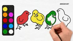 Drawing Little Chicken And Coloring It With Rainbow Colours Red, Yellow,...