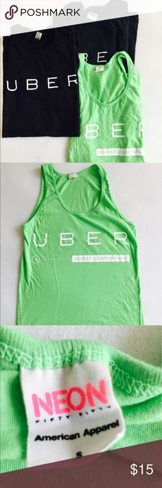 American Apparel Uber unisex bundle Uber unisex shirt / tank bundle - 2 shirts, 1 tank top - 2 American Apparel - one black shirt is a size Medium and the other two are smalls American Apparel Tops Tees - Short Sleeve