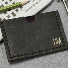 Personalised Olive Green Leather Card Holder