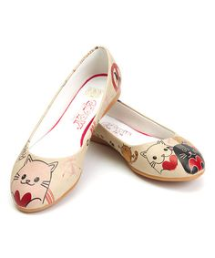 Look at this #zulilyfind! White & Red Heart Cat Ballet Flat #zulilyfinds