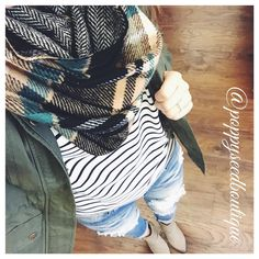 """""""#OOTD Perfection. Olive is the Color of Fall! Our Lily Jacket is so Gorgeous! Pair it with a Stripe Top, Destroyed Denim, Booties and Plaid Scarf for the…"""""""