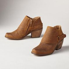"""SETTLER BOOTS - A classic shape gets a clever update with half spats and wraparound bands. Weathered suede, stacked heel boots. Side zips. Imported. Exclusive. Euro whole sizes 36 to 41. 36 (US 6), 37 (US 7), 38 (US 8), 39 (US 9), 40 (US 10), 41 (US 11). 2"""" heel."""