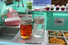 Create an easy DIY Mason Jar Ice Tea for your American Girl Dolls, as inspired by American Girl Tenney Grant's picnic set.
