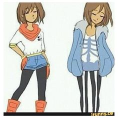 Frisk in clothes Sans and Papyrus.