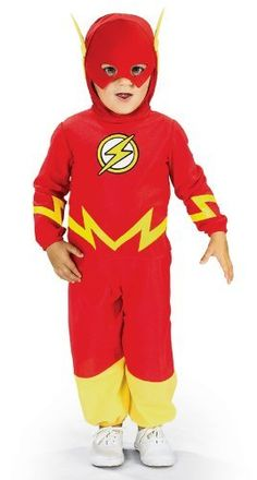 Justice League The Flash Toddler Costume by Rubies. $14.72. From the Manufacturer                This Flash costume comes with a red and gold jumpsuit with the Flash's lightning bolt symbol on the chest and around the arms and waist. The headpiece and mask are also included.                                    Product Description                The Flash Costume from Justice League features a red over-the-head headpiece with attached foam lightening bolts and red jumpsuit...