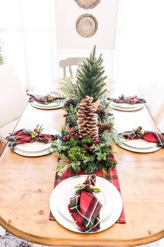 There's nothing more traditional than the red and green hues of the holidays. So I decided to create this Red Tartan Christmas Dining table!