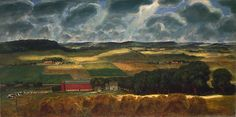 Wisconsin Landscape is an idealized composite of farm scenes that Curry saw while traveling around the American Midwest. The horizontal canvas provides a panoramic view of the region and draws attention to the dramatic sky