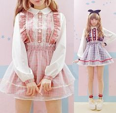 "Japanese kawaii net yarn grid dress - Use code ""battytheragdoll"" for 10% off!"