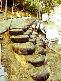 salvaged tire retaining wall