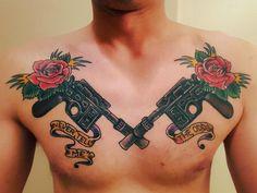 DL-44 Blasters / Han Solo Chest Piece by Dano Sancho, Taos Tattoo in Taos, NM http://ift.tt/1oaRTjY