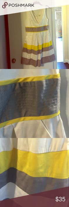 White, Yellow, Grey V-Neck Dress Only worn once. In practically perfect condition -- simply doesn't fit me anymore. Very comfortable & flattering. 97% cotton 3% spandex Corey P Dresses