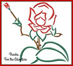 Alice in Wonderland Singing Red Rose Sketch Digital Embroidery Machine Design File 4x4 5x7 6x10 by Thanks4TheAdventure on Etsy