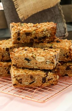 These really are the very best homemade muesli bars... soft & chewy with just the right amount of crunch! Made with rolled oats, puffed rice, honey, nuts, seeds, dried fruit, coconut oil, nut butter and more!  #mueslibars #healthy #baking #kids #lunchboxes #lunchbox #thermomix #family #snacks #yum #coconut