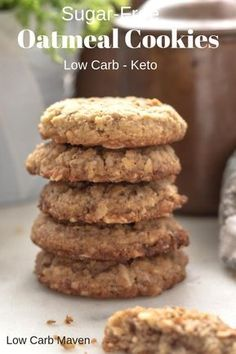 These sugar-free oatmeal cookies are perfect for your low carb keto diet! - Keto Brownies - Ideas of Keto Brownies - These sugar-free oatmeal cookies are perfect for your low carb keto diet! Desserts Keto, Sugar Free Desserts, Sugar Free Recipes, Low Carb Recipes, Low Sugar Snacks, Healthy Sugar, Baking Recipes, Low Sugar Diet, Frozen Desserts