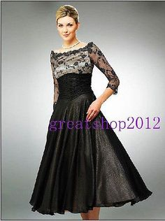 2014 black beaded lace tea-length Mother of the Bride Dresses Custom All sizes
