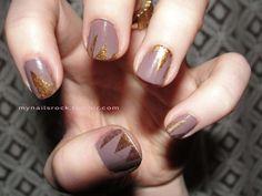 grey and #gold #glitter #nailart