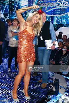 Aneta Sablik celebrates on stage after winning the final of 'Deutschland sucht den Superstar' (DSDS) show at Coloneum on May 3, 2014 in Cologne, Germany.