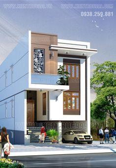 Nhà phố 2 tầng đẹp- Nhà phố 6.5m có tầng hầm – Kiến Trúc 999 Duplex House Design, House Front Design, Modern House Design, 3d House Plans, Indian House Plans, Independent House, Building Design, Building A House, Style At Home