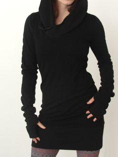 Nero con cappuccio a maniche lunghe magro Vestito aderente 13.32