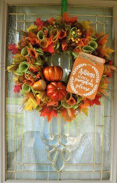 Fall Wreath with Sign, Pumpkin Wreath, Autumn Wreath, Fall Foliage Wreath, Autumn Foliage Wreath, Pumpkins, Fall Leaves, Deco Mesh Wreath