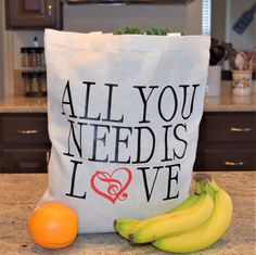 Everyday Tote Bag All You Need is Love by aKellyJeancreation