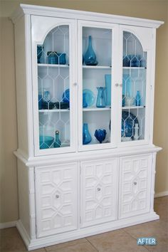 Love the white hutch with blue glassware.mine would def be pink and black though! Refinished China Cabinet, Painted China Cabinets, White Cabinets, Painted Hutch, Cupboards, Repurposed Furniture, Painted Furniture, Furniture Making, Home Furniture