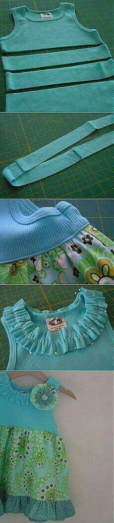 "Платье для девочки за 5 минут ""Easy dress from tshirt jeysey top and fabric skirt"", ""Little lizard king blue ribbon dress inspiration"", ""Abi's Disney Diy Clothing, Sewing Clothes, Clothing Patterns, Sewing Patterns, Dress Sewing, Sewing Hacks, Sewing Tutorials, Sewing Crafts, Sewing Projects"