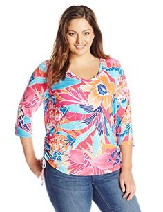 Caribbean Joe Womens PlusSize Three Quarter Sleeve V Neck with Side Ruche Top Spider Lily 3X -- Read more  at the image link.