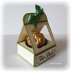Mini-Gift-Box - Tutorial. This holds 1 piece of Ferrero Rocher (43 cents each) perfectly!