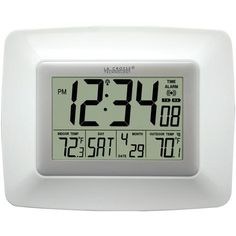 La Crosse Technology Atomic Digital Clock With Indoor And Outdoor Temperature (white)