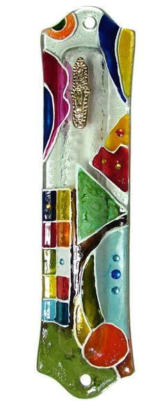 GLASS Mezuzah Case scroll Israel Judaica Handmade Art Jewish Swarovski Etsy