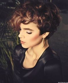Charming Curly Hairstyle pixie cut with long bangs