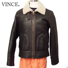 #sale VINCE Men Pilot leather Shearling Brown jacket Size L Slim Fit withing our EBAY store at  http://stores.ebay.com/esquirestore