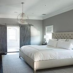 Light Gray Bedroom Paint - Design photos, ideas and inspiration. Amazing gallery of interior design and decorating ideas of Light Gray Bedroom Paint in bedrooms by elite interior designers. Light Gray Bedroom, Grey Bedroom Paint, Master Bedroom Bathroom, Blue Bedroom, Trendy Bedroom, Bedroom Colors, Bedroom Wall, Bedroom Ideas, Design Bedroom