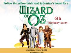 Children's party invite for Wizard of Oz party