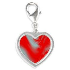 Red Wave Silver Heart Charm > Lisa Williams Art