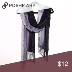 Black to Grey Ombré Fringe Scarf Super pretty ombre scarf with fringe that goes with everything. Warmer fabric, so ideal for fall and winter. Accessories Scarves & Wraps